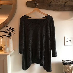 Eileen Fisher Charcoal Cotton Wool Long Sleeve Top